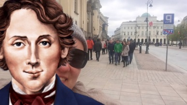 Chopin i ja na Krakowskim Przedmieściu, maj 2017 i zimno!